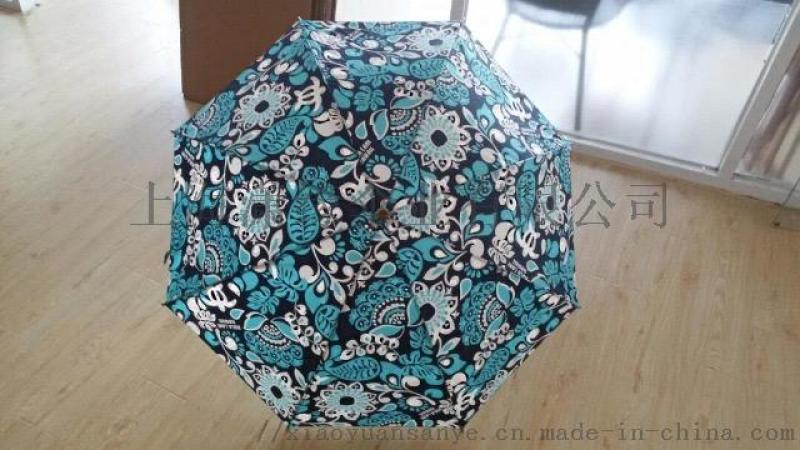 创意精美印花出口伞、采用高密度轻薄面料制作伞面、防风轻质柔韧纤维伞骨