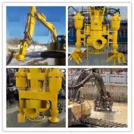 朝阳挖掘机无堵塞砂浆泵 沉淀池专用碎石泵 液压耐磨潜污泵
