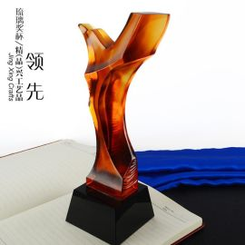 现货商务比赛纪念礼品  琉璃奖杯定制 刻字