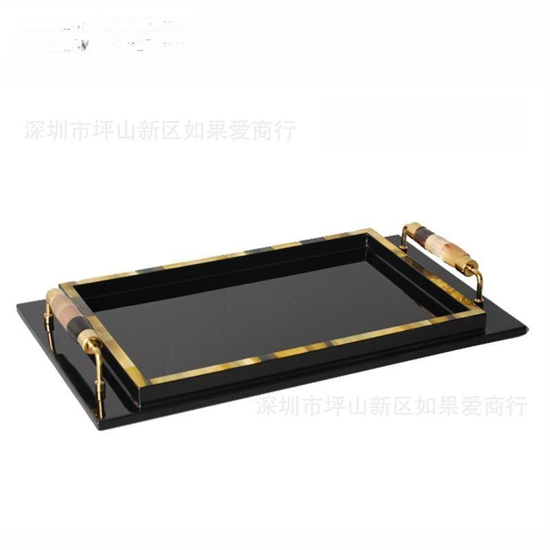 中式木製質長方形黃牛角骨木質鋼琴烤漆鈦金不鏽鋼托盤擺件樣板間