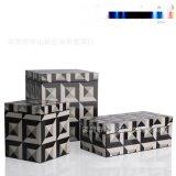 歐式代長方形灰色魔方紋路皮木質首飾盒簡約收納盒軟裝樣板間擺件
