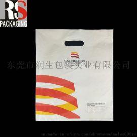 供应定制印刷挖孔手腕袋 奶白色手提袋 红黄蓝色塑料购物袋