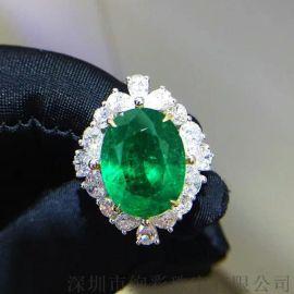 18K金钻石豪华镶嵌祖母绿戒指8.09克拉椭圆形赞比亚祖母绿裸石颜色好手寸14号祖母绿批发