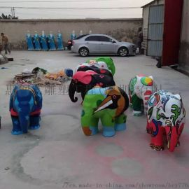 玻璃钢雕塑吉祥大象仿真动物景观大型户外彩绘大象