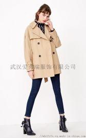 沈阳服装进货【现货】白领格子风衣外套