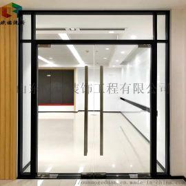 青岛铝合金办公室百叶帘移动屏风玻璃隔墙