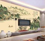 佛山瓷磚背景牆廠家個性定製彩虹石品牌中式客廳電視背景牆瓷磚 山水情 陶瓷藝術壁畫
