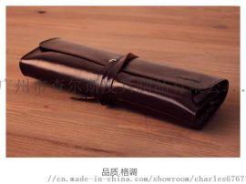 手工牛皮卷笔袋牛皮笔套素描彩铅笔包厂家定做笔袋