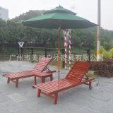 实木制沙滩椅 太阳伞 茶几