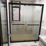 304不鏽鋼砂黑雙活動吊趟門浴室玻璃隔斷門