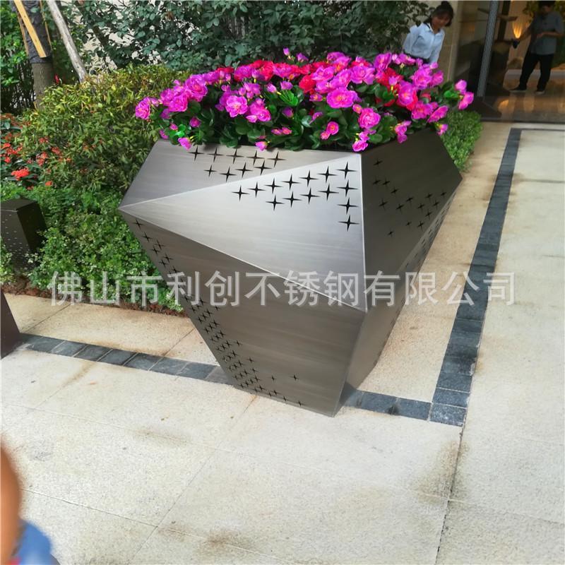 不锈钢304异型花盆定制厂家酒店别墅园艺花盆批发加工