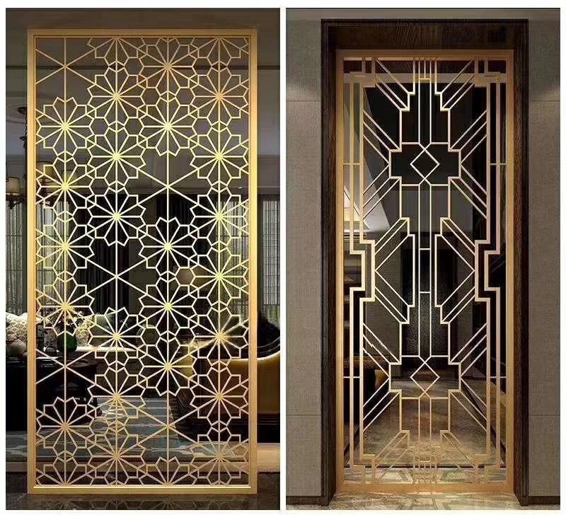供應南京酒店會所鈦金屏風定製不鏽鋼中式外牆鏤空屏風