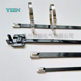 厂家直销白钢304不锈钢扎带黑色4.6*300-16mm电缆带桥架扎带自锁