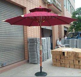 單拉繩雙層木傘,中柱木傘,戶外太陽傘(AC-U5306)