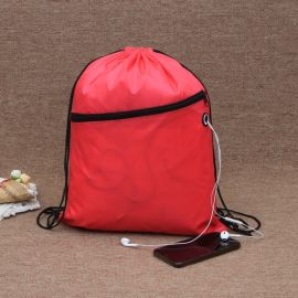 红色拉链束口袋涤纶袋牛津布袋定制logo收纳袋
