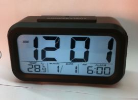 SC3019复显 EBAY淘宝LCD夜光闹钟 温度时间万年历 贪睡电子钟