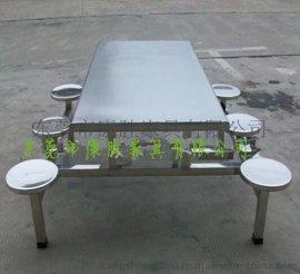 学生用食堂餐桌椅-|6人位不锈钢连体餐桌椅