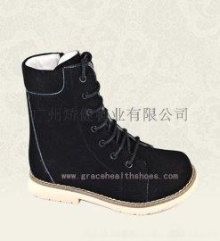 广州人体力学脑瘫鞋,内置足踝矫正器AFO真皮矫正鞋