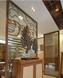 酒店客厅大堂装饰玫瑰金屏风-不锈钢隔断装饰