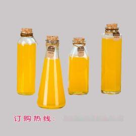 冷泡茶木塞玻璃瓶 奶茶瓶 350ML 500ML漂流瓶创意许愿瓶花茶瓶