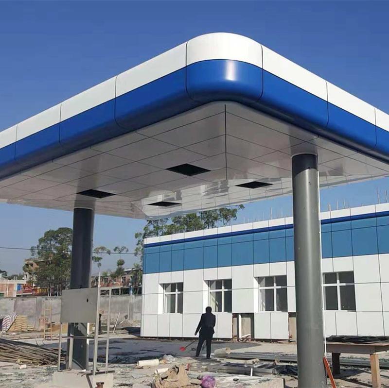 廣告牌裝飾鋁板幕牆 加油站天藍色2.0mm鋁單板現場定尺定製