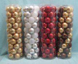 圣诞树挂件50PCS盒装圣诞塑胶球电镀球吊饰