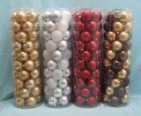 聖誕樹掛件50PCS盒裝聖誕塑膠球電鍍球吊飾