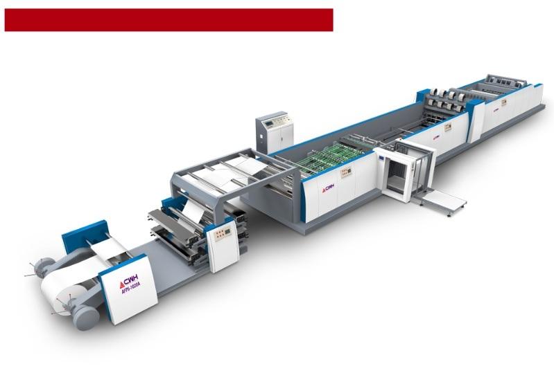 全自動捲筒紙高速柔印鐵絲騎馬釘學生作業本聯動生產線