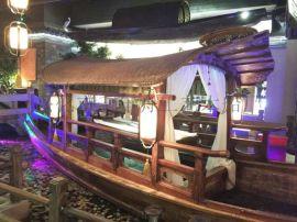 室内餐饮船|船型餐桌|木船饭店乌篷船