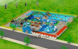充气水上乐园夏天戏水的地方