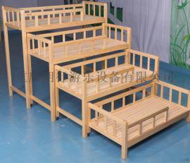 幼儿园实木午休床板床叠床3/4层推拉床
