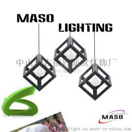 北歐創意鐵藝吊燈客廳燈現代客廳餐廳燈飾臥室方框吊燈具廠家批發MS-P6003