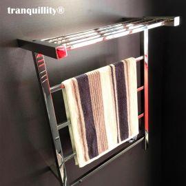 鏡面304不鏽鋼方管置物架電熱毛巾架 浴巾架