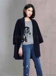 新款优质高端双面昵大衣女装折扣店加盟就到广州明浩