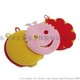 隔热去污硅胶厨房洗碗刷多功能瓜果蔬菜圆形硅胶洗碗布