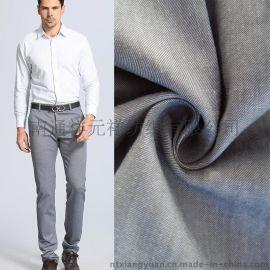厂家直销出口欧美高弹麻棉弹力斜纹色织布 休闲西装衣服面料批发