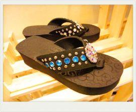 彩钻钻混搭**欧美西式EVA拖鞋**金属扣玻璃钻 女鞋