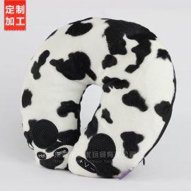 厂家直销卡通条纹U型枕定制logo 创意儿童脖枕 居家旅游车用颈枕