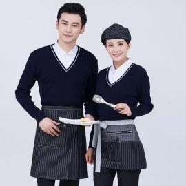 春季服務員襯衫領假兩件針織衫咖啡店西餐廳工裝酒店毛衣工裝外套
