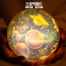 智慧USB充電地球宇宙星空投影小夜燈LED小臺燈