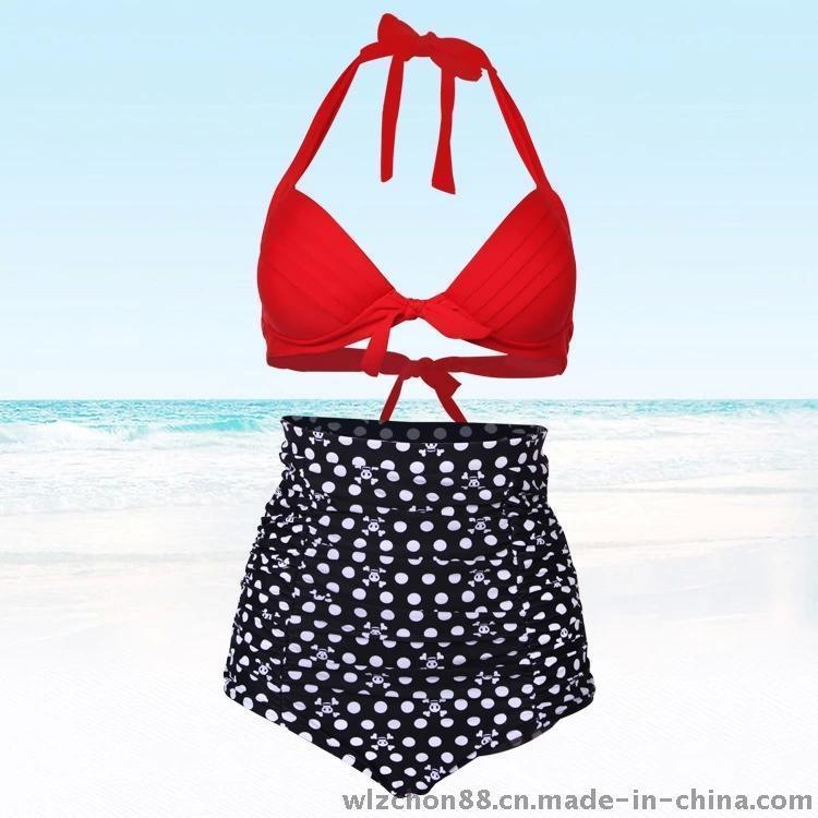 2014外贸欧美原单新款高腰比基尼波点印花游泳衣女士温泉分体泳装 举报