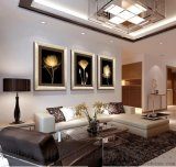 熱銷新款裝飾畫客廳現代三聯有框畫沙發背景掛畫牆畫壁畫金色年華