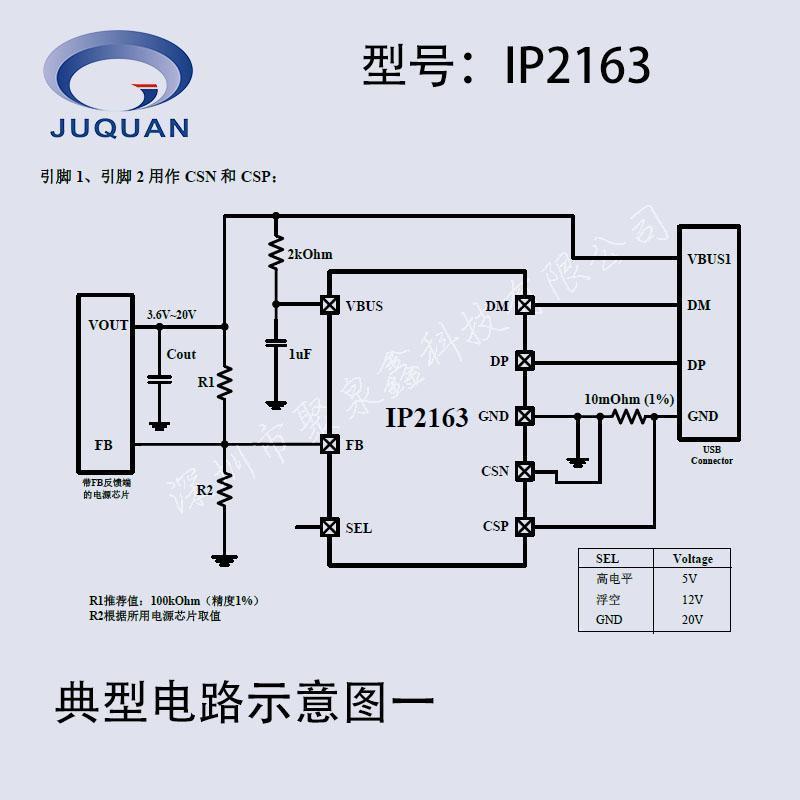 TYPE-C 支持QC3.0 MTK PE等快充握手协议芯片IP2163英集芯