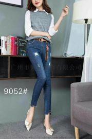 牛仔裤休闲女裤货源|品牌女装尾货|折扣女装库存批发