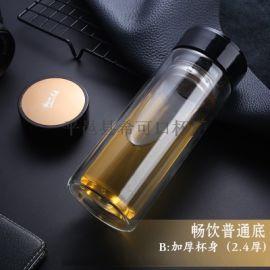 双层玻璃杯 商务高硼硅泡茶师广告礼品玻璃茶杯定制