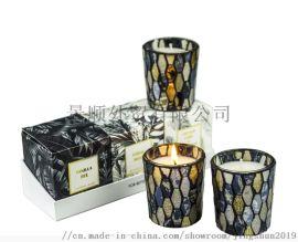 欧美风马赛克香薰蜡烛黑色古典大豆蜡玻璃杯蜡烛3件套