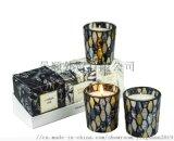 歐美風馬賽克香薰蠟燭黑色古典大豆蠟玻璃杯蠟燭3件套