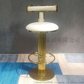 東莞市廠家直銷簡易輕奢酒店不鏽鋼吧椅ktv高吧凳