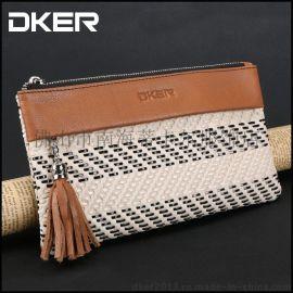 2015厂家批发头层真皮手拿包 男女式长款超纤拼色编织钱袋D2048