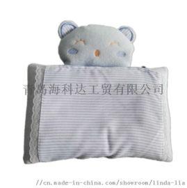 韩版原单长方形婴儿定型枕动物图案儿童纯棉防偏头枕